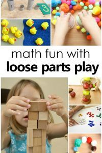Math and Loose Parts Play-hands-on learning and math skills with loose parts play for preschool and kindergarten - Education and lifestyle Preschool Learning Activities, Play Based Learning, Preschool Curriculum, Learning Through Play, Creative Activities, Fun Math, Early Learning, Fun Learning, Preschool Activities