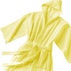 79a86900ec CHILDREN TERRY HOODED BATHROBE - LEMON Kids Robes