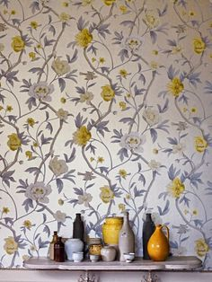 From fashion to sunny splendid days in the sun while getting tanned and getting our margaritas on, the Palm Springs style is an es Textures Patterns, Print Patterns, Paper Patterns, Floral Patterns, Zoffany Wallpaper, Palm Springs Style, Mellow Yellow, Colour Yellow, Purple Yellow