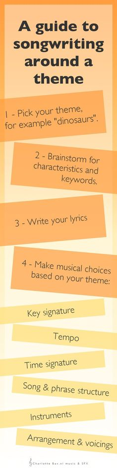 A guide to songwriting around a theme: 6 invaluable tips on how to incorporate your theme not only into your lyrics of your song, but also in every aspect of the music. � http://CharlotteBax.nl