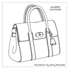 MULBERRY - BAYSWATER BAG- Designer Handbag Illustration / Sketch / Drawing / CAD / Borsa Disegno