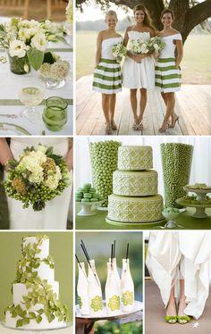Green, beige wedding. Зеленый, белый и бежевый