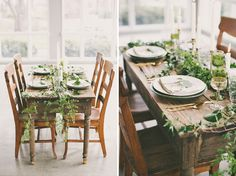 botanical tablescape with wild vines draped down the side