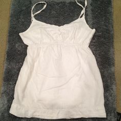 White Detailed Cami Used | Good Condition | White with Lace & Beads on Front | Spaghetti Strap | Banded Waist | Small Stain on Lower Back ; Wear a Jacket & No One Knows | Layered So Not Sheer | 100% Cotton | Trades | Feel Free to Ask Questions | More  Upon Request | Bundles & Offers are Welcomed ❤️| Aeropostale Tops Camisoles