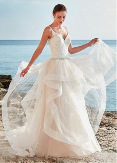 Delicate Tulle Spaghetti Straps Neckline A-Line Wedding Dress With Beaded Lace Appliques