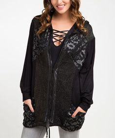 Look at this #zulilyfind! Black Faux Leather Contrast Zip-Up Hoodie #zulilyfinds