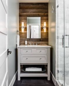 : Small Bathroom Ideas With Cute Shower Room And White Rustic Wall … Rustic Bathroom Wall Cabinets - All Fresh Ideas of Interior Design and Home Decoration Tiny Bathrooms, Tiny House Bathroom, Bathroom Design Small, White Bathroom, Modern Bathroom, Bathroom Designs, Reclaimed Wood Bathroom Vanity, Rustic Bathroom Lighting, Rustic Vanity