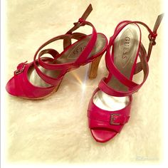 SALEGuess Strappy fuchsia cork platformsandals Beautiful fuchsia  strappy cork platform-heel sandals from Guess. Perfect for spring + summer. Pre-love as showing on pictures 3 & 4 barely noticeable when you are wearing them. Guess Shoes Sandals
