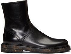 Ann Demeulemeester - Black Horseskin Zip-Up Boots