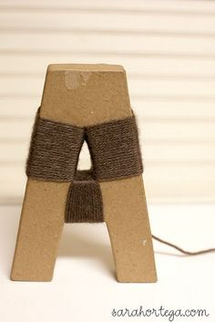 Yarn wrapped letter DIY