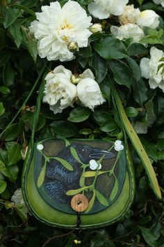 Handbags Pagan Wicca Witch:  Crow and Mistletoe Handbag, by Sky Raven Wolf.