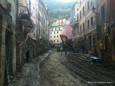 Flood damage Vernazza Italy.