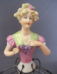 Gorgeous German Half Doll Boudoir Doll on Wire Stand