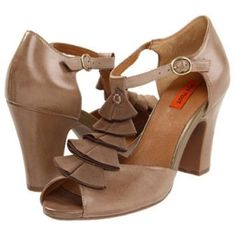 Miz Mooz shoes Mix Mooz beige shoes with front ruffle detail in felt. Worn once and in perfect condition. Heel is 3 1/2 inches. Sold without box. Miz Mooz Shoes Heels