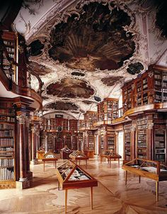 """""""The Abbey Library of Saint Gall is the oldest library in Switzerland and holds about 160,000 volumes."""""""