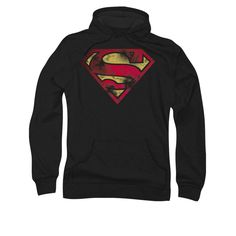 Superman War Torn Shield Logo Mens Pullover Hoodie