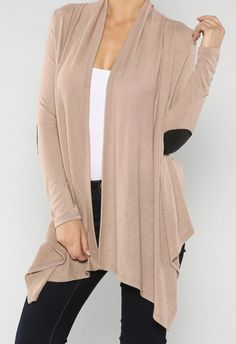 Elbow Patch Cardigan #taupe #leather