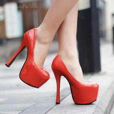 Shoespie Pure Color Chunky Platform Heels