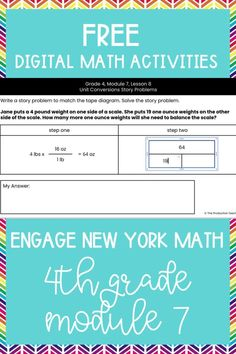 Master the skills taught in Engage New York Math Grade 4 with these FREE digital math activities. These interactive math worksheets are on Google Slides, so you can easily move pieces or fill in blanks to solve 4th grade math problems to review Engage New York Math Grade 4. These are perfect for digital math centers or interactive math worksheets. Best of all? They are FREE at TheProductiveTeacher.com! #engagenewyork #digitalmath #onlinemath #interactivemathworksheets #TheProductiveTeacher 4th Grade Activities, Division Activities, Fractions Worksheets, Multiplication, 4th Grade Math Problems, Place Value Chart, Common Core Math, Upper Elementary, Learning Resources