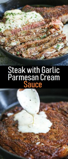 Steak with Garlic Parmesan Cream Sauce – Gaya Recipes Best Picture For Sauce logo For Your Taste You are looking Garlic Sauce For Steak, Steak Cream Sauce, Steak Sauce Recipes, Easy Steak Sauce, Garlic Sauce Recipes, Steak With Sauce, Beef Recipes, Recipies, Parmesean Cream Sauce