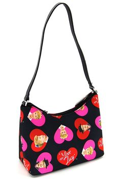 """I Love Lucy Signature Product Women's Hobo LU65,Black/Hearts,US. Dimensions: 11"""" x 6"""" x 4"""". Drop Length: Drop (distance from shoulder or handle to top of bag): 9"""". Origin: Imported. Features of this item include: Top Handle, Top Zip."""