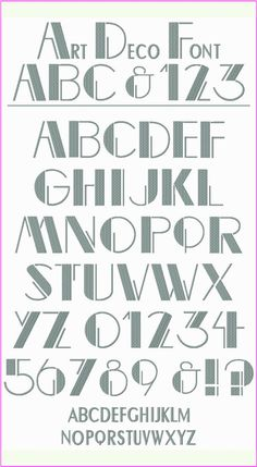 """! ! ! Art Deco Font ! ! ! If you love the bold, graphic look of Art Deco, you'll love using this vintage style font on your projects. Wouldn't it be wonderful on totes and tees, hats, bed linens, kitchen items, backpacks, just about everywhere! The Upper Case and Numbers are 2.5"""" tall and the smaller letters are 1"""" tall."""