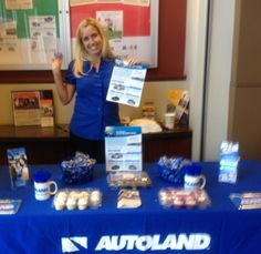 Autoland Consultant, Kim, proudly representing at a member table day at the Eastlake branch of Mission Federal Credit Union.