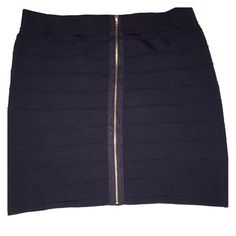 Black Mini Skirt w/ Front Zipper Like new condition. Black stretchy miniskirt with a gold zipper accent down the front. Perfect for any look. From dinner to nightclub. Waist is 28.5 inches. Very fun design with lines going around. You will love this skirt! 😎🙌🏾💋 Charlotte Russe Skirts Mini