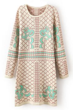 Geometric Crochet Apricot Dress