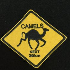 Camels Next 30 km Road Sign Iron On Patch Towel Apron, Fabric Patch, Camels, Treat Bags, Cloth Bags, Iron On Patches, Tea Towels, Hand Stitching, Happy Halloween