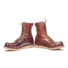 1960's Vintage Red Wing Irish Setter Work Boots Moc Toe Lace Up Leather Boot in a Men's Size 14 A (Narrow) by RabbitHouseVintage on Etsy