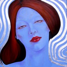 BLUE IS A RED HEAD by Hackney Hockney Art