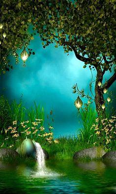 Lovely Forest Lake Tree Photo Background Backdrop in 2019 Fantasy Forest, Fantasy World, Mystical Forest, Forest Fairy, Magic Forest, Forest Garden, Illustration, Photo Tree, Fantasy Landscape
