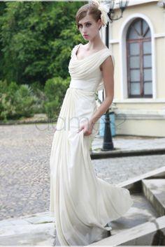 Göttin Brautkleider Chiffon A-Linie gekappte Ärmel Strand volle länge informelles & legeres Brautkleid