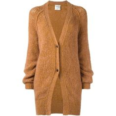 Forte Forte two button cardigan (€365) ❤ liked on Polyvore featuring tops, cardigans, outerwear, sweaters, jackets, brown tops, button cardigan, brown cardigan and forte forte