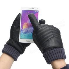 Men Thermal Touch Screen Gloves Artificial Leather Winter Warm Motorcycle Gloves Sale - Banggood.com