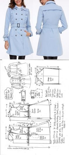 Trenchcoat Deniz by Amin Gad Dress Design Patterns, Easy Sewing Patterns, Coat Patterns, Clothing Patterns, Sewing Coat, Sewing Clothes, Diy Clothes, Fashion Sewing, Diy Fashion