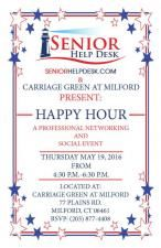 Please join us for a professional networking social @ Carriage Green at Milford, CT on Thursday May 19, 2016 from 4:30 to 6:30 pm. RSVP: (203) 877-4408. This will be a fun networking event. There will be many elder care and health care professionals attending from the local community. Light refreshments and drinks will be served. Please come, network and enjoy. The seniorhelpdesk.com team Link: http://www.benchmarkseniorliving.com/senior-living/ct/milford/carriage-green-at-milford/