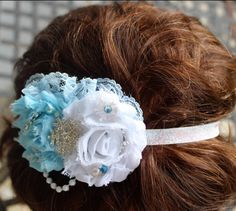 Blue and White Disney Frozen Inspired Elsa by LaBandeauxBowtique, $7.50