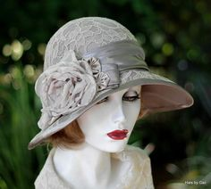 Wide Brim Formal Hat in Lace for Weddings and Garden Parties in Shades of Coffee and Taupe