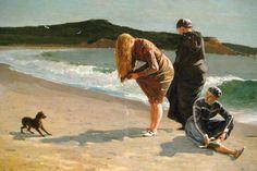 "Winslow Homer (1836–1910). American landscape painter and printmaker. ""Eagle Head, Manchester, Massachusetts (High Tide)"" (1870). Oil on canvas; 26x38in. (66x96.5cm). The Metropolitan Museum of Art. Via: Fotopedia."