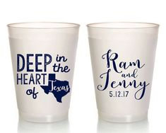 Wedding Cups Texas Wedding Texas Anniversary Deep in the heart of Texas Cups Frosted Cups Frosted Wedding Cups Party Cups 1650 by SipHipHooray