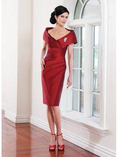 Carmen-Ausschnitt Rot Abendkleid Kurz für deine Mutter