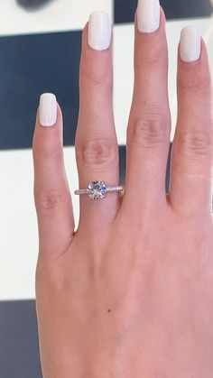 Check this moissanite engagement ring. It is a unique engagement ring for women of all ages. Beautiful Engagement Rings, Halo Engagement Rings, Moissanite Rings, Dream Ring, White Gold Rings, Unique Rings, Wedding Rings, Wedding Nails, Selfie Ideas