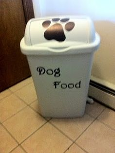 Great idea so much nicer having dog food bag out. Still looking for fun decals to put on mine. DIY - I want this to store our dog food in! Via The Redhead at Home.