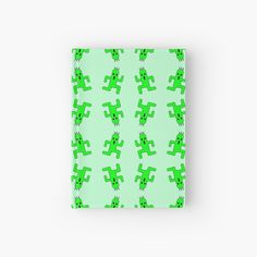 'Funny cactuses, cartoon cactuars pastel green pattern' Hardcover Journal by cool-shirts