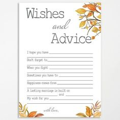 Share your #wellwishes and advice for happy couple with these printable cards, perfect for a a fall #bridalshower