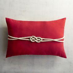 Cabana Tomato Rope Lumbar Pillow Red