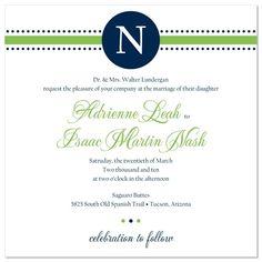 Preppy Monogram - Unique Wedding Invitation by The Green Kangaroo