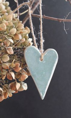 2 Heart shaped ornaments wedding favors clay by MuddyGrandma